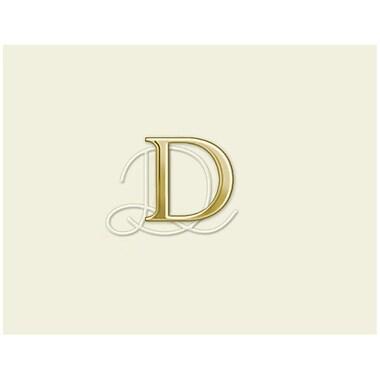 JAM PaperMD – Ensemble personnalisé de papeterie avec cartes à plier, blanc naturel avec élégante lettre D dorée, 12/paquet