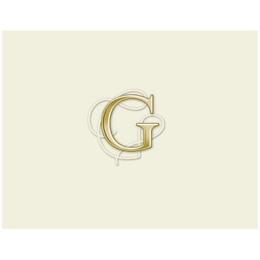 JAM Paper® Personal Stationery Foldover Card Set, Natural White with Elegant Gold Letter G, 12/Pack (52611807694)