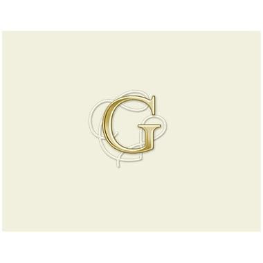 JAM PaperMD – Ensemble de papeterie personnalisée avec cartes à plier, blanc naturel avec élégante lettre G dorée, 12/paquet