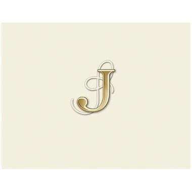 JAM PaperMD – Ensemble de papeterie personnalisée avec cartes à plier, blanc naturel avec élégante lettre J dorée, 12/paquet