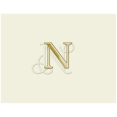 JAM PaperMD – Ensemble de papeterie avec cartes à plier personnalisées, blanc naturel avec élégante lettre N dorée, 12/paquet