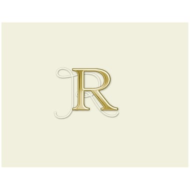 JAM Paper® Personal Stationery Foldover Card Set, Natural White with Elegant Gold Letter R, 12/Pack