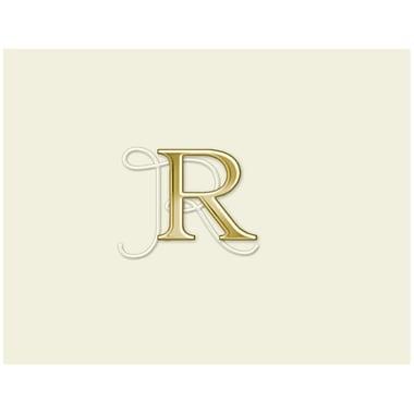 JAM PaperMD – Ensemble de papeterie avec cartes à plier personnalisées, blanc naturel avec élégante lettre R dorée, 12/paquet