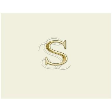 JAM PaperMD – Ensemble personnalisé de papeterie avec cartes à plier, blanc naturel avec élégante lettre S dorée, 12/pqt