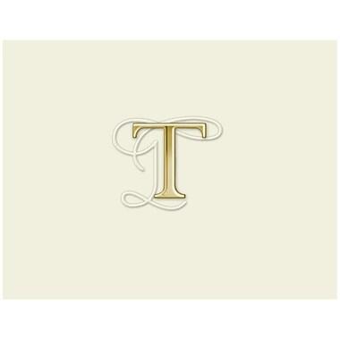 JAM PaperMD – Ensemble de papeterie personnalisée avec cartes à plier, blanc naturel avec élégante lettre T dorée, 12/paquet