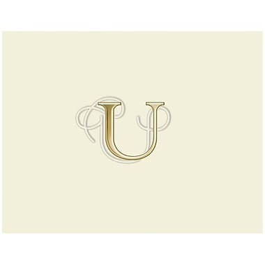 JAM Paper® Personal Stationery Foldover Card Set, Natural White with Elegant Gold Letter U, 12/Pack