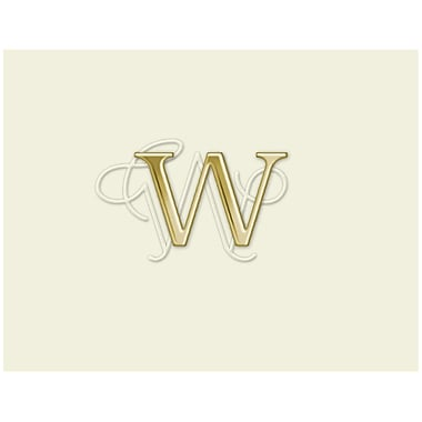 JAM Paper® Personal Stationery Foldover Card Set, Natural White with Elegant Gold Letter W, 12/Pack (52611807706)