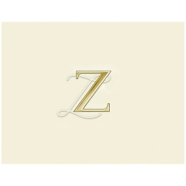 JAM Paper Personal Stationery Foldover Card Set, Natural White with Elegant Gold Letter Z, 12/Pack