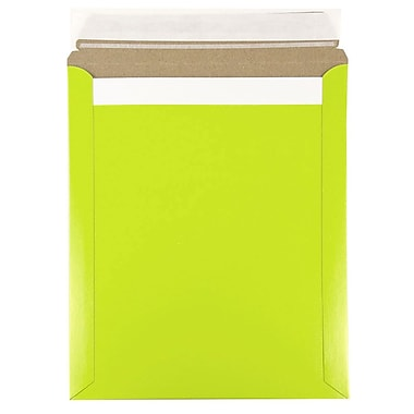 JAM Paper® Colour Photo Mailer Stiff Envelopes with Self Adhesive Closure, 11 x 13.5, Lime Green, 6/Pack