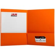 JAM Paper® Premium Paper Cardstock Two Pocket Presentation Folders, Orange, 6/pack (166628272B)