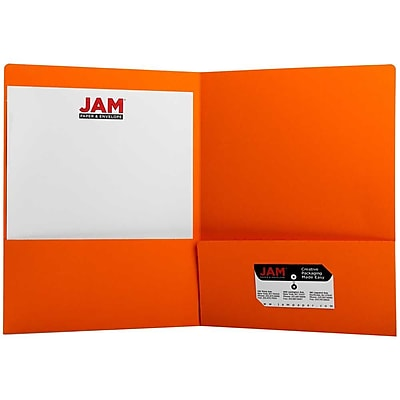 JAM Paper® Premium Paper Cardstock Two Pocket Presentation Folders, Orange, 6/pack (166628272B)