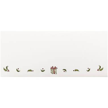JAM Paper® #10 Business Christmas Holiday Envelopes, 4 1/8 x 9 1/2, Presents and Holly Design, 25/Pack