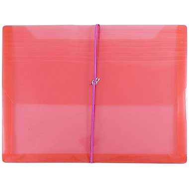 JAM Paper® Plastic Envelopes with 2 5/8 Expansion, Elastic Closure, Letter Booklet, 9.75 x 13, Red Poly, 12/Pack