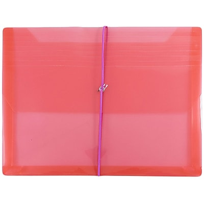 JAM Paper® Plastic Envelopes with 2 5/8 Expansion, Elastic Closure, Letter Booklet, 9.75 x 13, Red Poly, 12/pack (218E25REB)