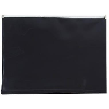 JAM PaperMD – Enveloppes en plastique avec fermeture à glissière, format livret, 9,5 x 12,5 po, poly noir, 12/paquet
