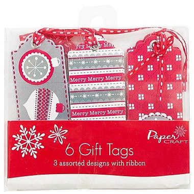 JAM PaperMD – Étiquettes pour cadeaux de Noël, couleurs variées, rouge/blanc/argenté, 6/paquet