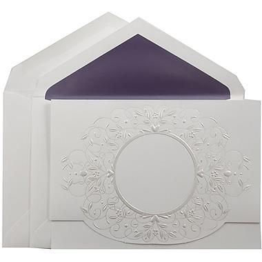 JAM PaperMD – Invitation pour mariage, grand, 5,5 x 7,75 po, blanc perlé, enveloppes avec ligne violette, 50/paquet