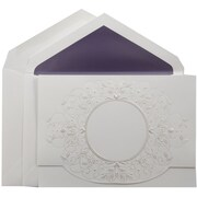 JAM Paper® Wedding Invitation Set, Large, 5.5 x 7.75, White with Pearl Design with Purple Lined Envelopes, 50/pack (5268480PU)