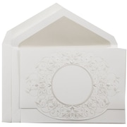 JAM Paper® Wedding Invitation Set, Large, 5.5 x 7.75, White with Pearl Design with Pearl Lined Envelopes, 50/pack (5268480PE)