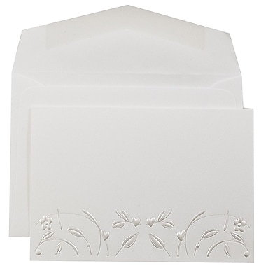 JAM Paper® Wedding Invitation Set, Small, 3 3/8 x 4 3/4, White with Pearl Design with White Envelopes, 100/pack (52684450)