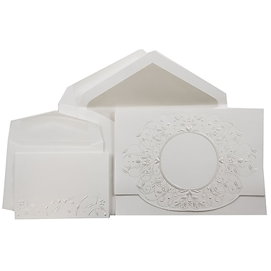 JAM PaperMD – Ensemble combiné de faire-part de mariage, 1 petit/1 grand, blanc, motif perle, enveloppes doublées perle, 150/pqt