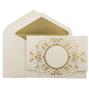 JAM Paper® Wedding Invitation Set, Large, 5.5 x 7.75, Ecru Card with Gold Design with Gold Lined Envelopes, 50/pack (5268481G)
