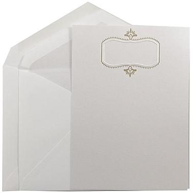 JAM PaperMD – Grands faire-part de mariage, 5,5 x 7,75, herbe d'ours blanc et motif doré, enveloppes à revêtement perlé, 50/pqt