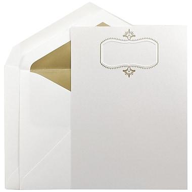 JAM PaperMD – Grands faire-part de mariage, 5,5 x 7,75, herbe d'ours blanc et motif doré, enveloppes à revêtement doré, 50/pqt