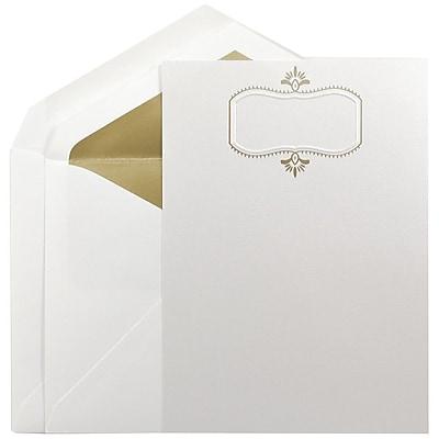 JAM Paper® Wedding Invitation Set, Large, 5.5 x 7.75, Beargrass White, Gold Design, Gold Lined Envelopes, 50/pack (5268273GO)