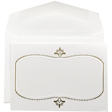 JAM PaperMD – Petits faire-part de mariage, 3 3/8 x 4 3/4, herbe d'ours blanc et motif doré, enveloppes blanches, 100/pqt
