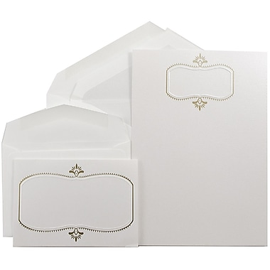 JAM Paper® Wedding Invitation Combo Sets, 1 Sm 1 Lg, Beargrass White, Gold Design, Pearl Lined Envelopes, 150/pack (5268273PECO)