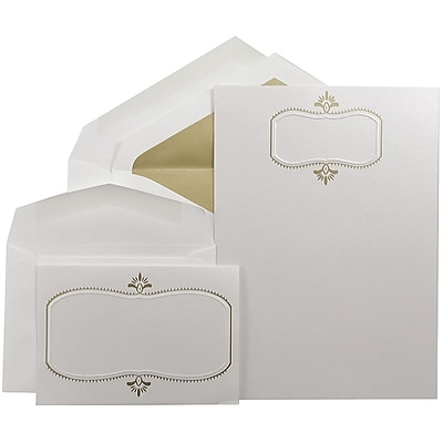 JAM Paper® Wedding Invitation Combo Sets, 1 Sm 1 Lg, Beargrass White, Gold Design, Gold Lined Envelopes, 150/pack (5268273GOCO)