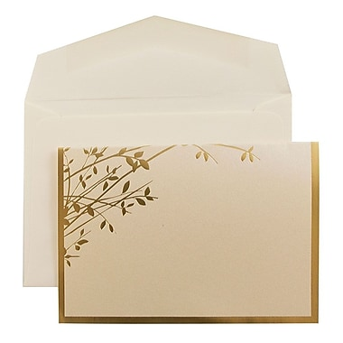 JAM PaperMD – Ensemble de petits faire-part de mariage, 3 3/8 x 4 3/4, foin et feuilles dorés, enveloppes blanches, 100/pqt