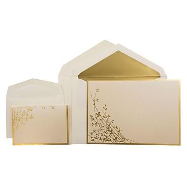 JAM PaperMD – Faire-part de mariage combinés, 1 petit et 1 grand, foin et feuilles dorés, enveloppes dorées, 150/pqt
