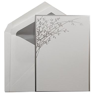 JAM PaperMD – Grands faire-part de mariage, blanc avec feuilles argentées, enveloppes revêtement argenté, 5,5 x 7,75, 50/pqt