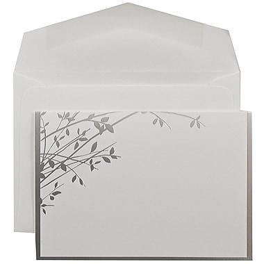 JAM PaperMD – Ensemble de faire-part de mariage, blanc avec feuilles argentées, enveloppes blanches, 3 3/8 x 4 3/4, 100/pqt