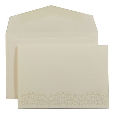JAM PaperMD – Ensemble d'invitations de mariage, petit, 3 3/8 x 4 3/4 po, écru avec motif perle et enveloppes blanches, 100/pqt