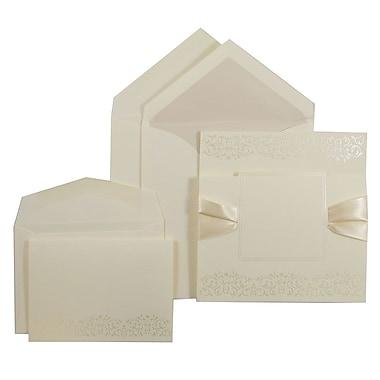 JAM PaperMD – Ensemble combo de faire-part de mariage, 1 petit/1 grand, ruban écru/motif perle, enveloppe doublée perle, 150/pqt