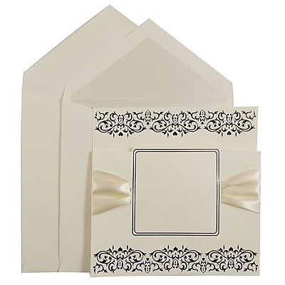 JAM Paper® Wedding Invitation Set, Large Square, 5.5 x 5.5, Ecru, Ribbon and Black Design, Pearl Lined Env, 50/pack (526573PERB)