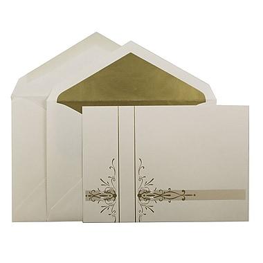 JAM PaperMD – Invitations carrées pour mariage, grand, 5,5 x 7,75 po, écru, motif floral doré, enveloppe dorée, 50/paquet