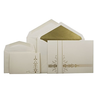 JAM Paper® Wedding Invitation Combo Sets, 1 Sm 1 Lg, Ecru, Floral Gold Stripe, Floral Gold Lined Envelopes, 150/pk (5268143GOCO)