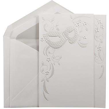 JAM PaperMD – Ensemble de grands faire-part de mariage, blanc, masque floral, enveloppes avec doublure dorée, 5,5 x 7,75, 50/pqt