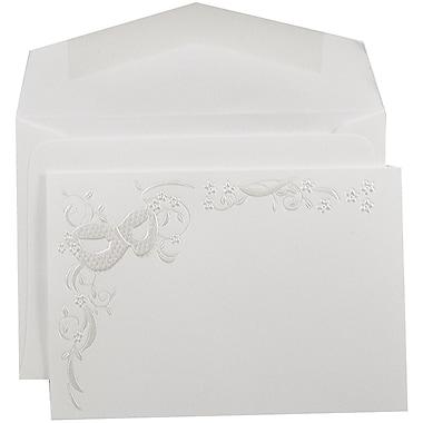JAM PaperMD – Ensemble de petits faire-part de mariage, blanc avec masque floral et enveloppes blanches, 3 3/8x4 3/4, 100/paquet