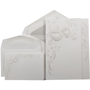 JAM PaperMD – Ensemble combiné de faire-part de mariage, 1 petit/1 grand, blanc, masque floral, enveloppes cristal, 150/pqt