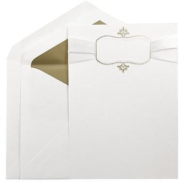 JAM PaperMD – Ensemble de grands faire-part de mariage blanc avec ruban et motif ovale doré, enveloppes dorées, 5,5x7,75, 50/pqt