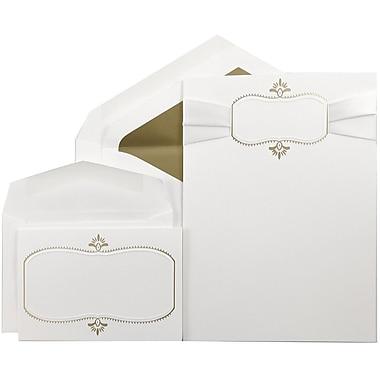 JAM PaperMD – Ensemble combo de faire-part de mariage, 1 petit/1 grand, ruban blanc/motif ovale doré/enveloppes dorées, 150/pqt