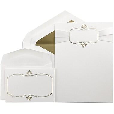 JAM Paper® Wedding Invitation Combo Sets, 1 Sm 1 Lg, White Cards, White Ribbon, Gold Oval, Gold Lined Env, 150/pk (5268277GRBC)