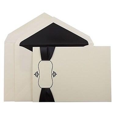 JAM PaperMD – Ensemble de faire-part de mariage, grand, 5,5 x 7,75 po, cartes écrues avec ruban et enveloppes noires, 50/paquet