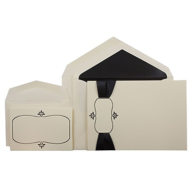 JAM PaperMD – Ensemble combiné de faire-part de mariage, 1 petit/1 grand, écru avec motif noir et enveloppes, 150/paquet