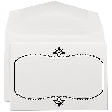JAM PaperMD – Ensemble de faire-part de mariage, petit, blanc avec ovale noir et enveloppes blanches, 3 3/8 x 4 3/4, 100/paquet